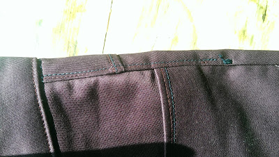 side seam and bar tacks on purple seagull jeans