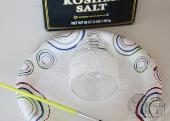 Mini mason jar tea light ornament -made with salt to look like snow