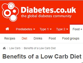 La Global Diabetes Comunity (DIABETES.CO.UK) habla de los beneficios de una alimentación Low Carb
