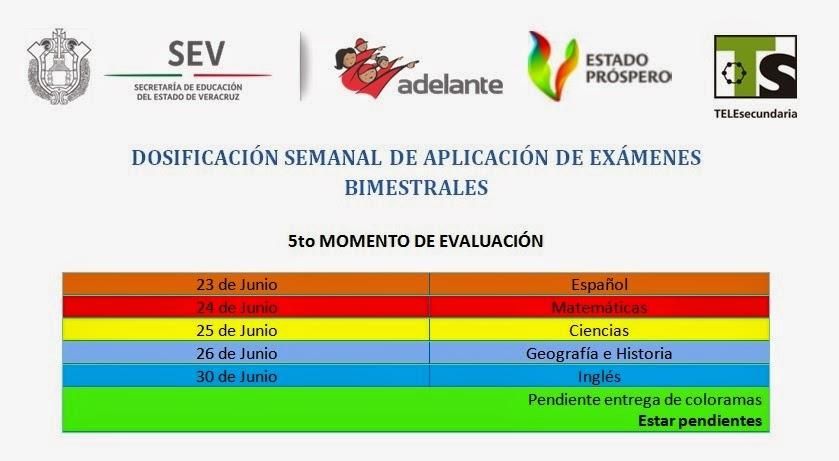 FECHAS DE APLICACIÓN DE EXÁMENES 5 BIMESTRE
