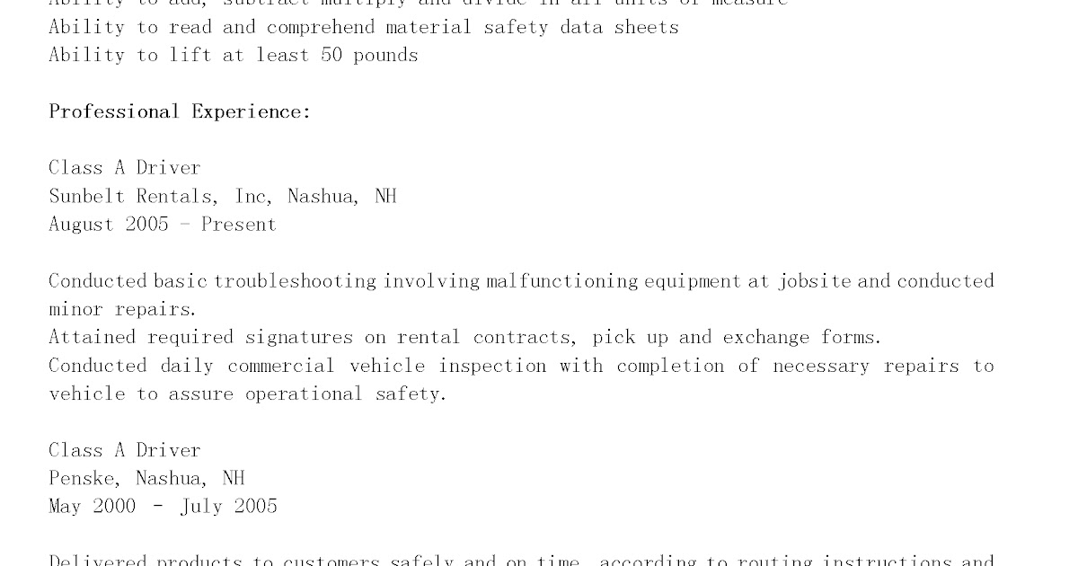 driver resumes class a driver resume sle