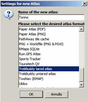 Mobile Atlas Creator MOBAC - selezione mappa