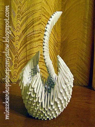 dekoracje, dekoracje z papieru, handmade, origami, origami 3d, origami modułowe, ręcznie robione, rękodzieło, składanie papieru, łabędź,