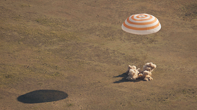 Soyuz's soft landing engines firing just before the capsule touches the ground. NASA 2011.
