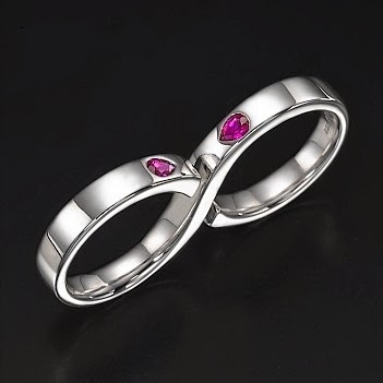 buy  0.45ctw Genuine Ruby and Silver Double Ring