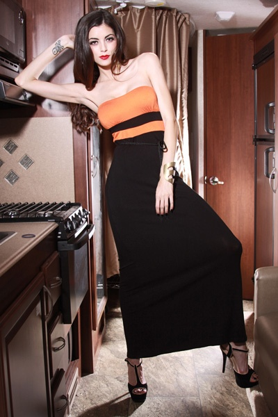 ORANGE BLACK COLORBLOCK STRAPLESS MAXI LONG DRESS