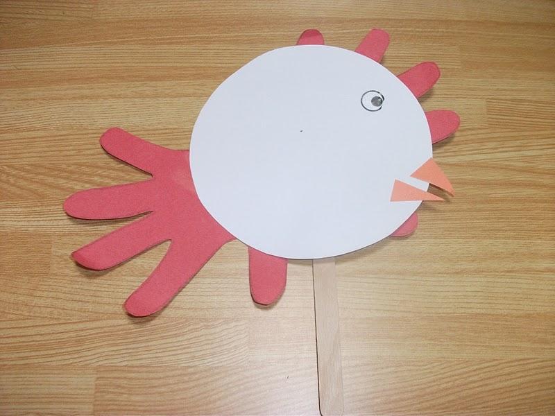 Chicken puppet handprint craft preschool education for kids for Rooster craft for kindergarten