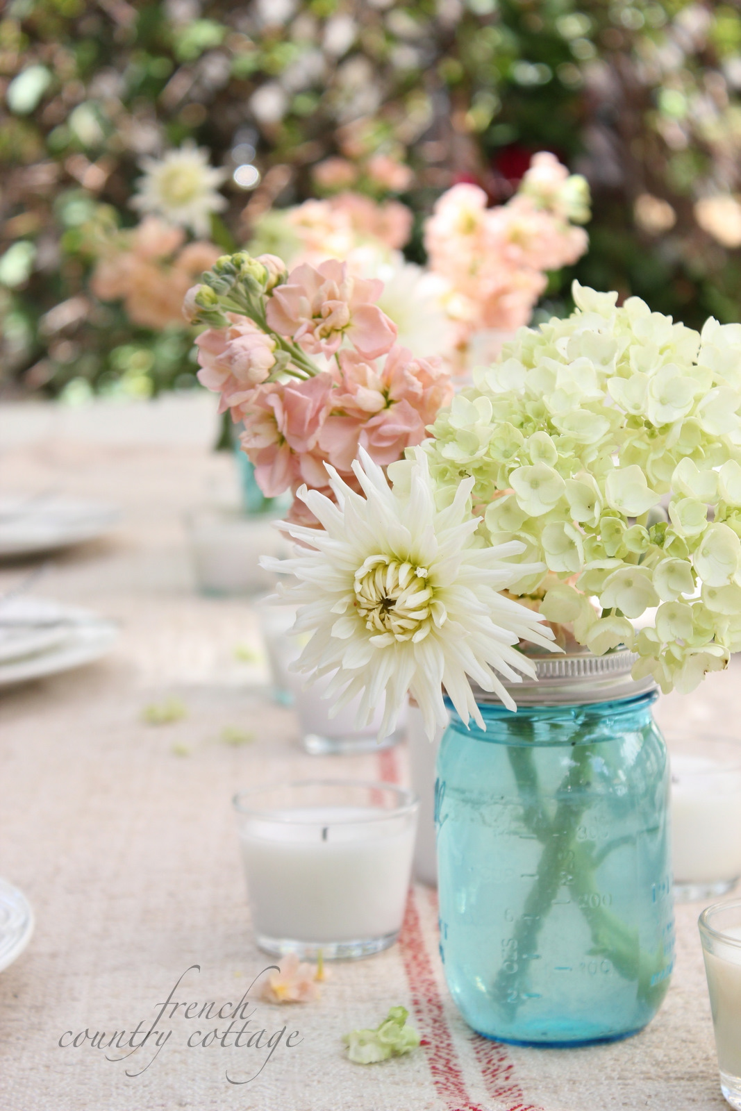 Table Setting In French Summer Table Setting With Blue Mason Jars French Country Cottage