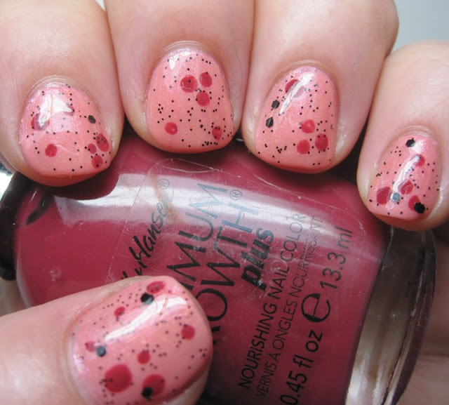 Accents with Sally Hansen Beautiful Berry and Nubar Black Polka Dot