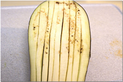 Scored eggplant