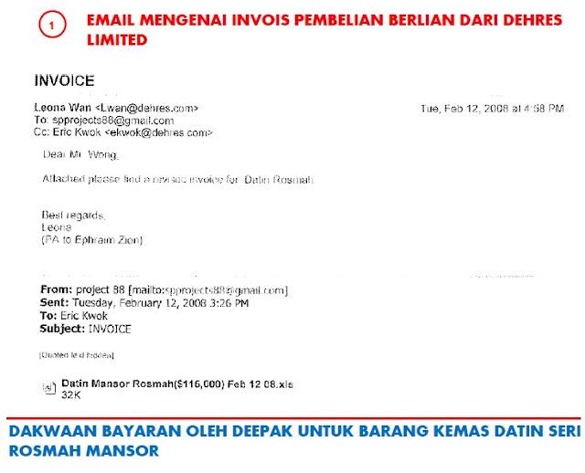 Dokumen bukti pembelian cincin berlian Rosmah Mansor