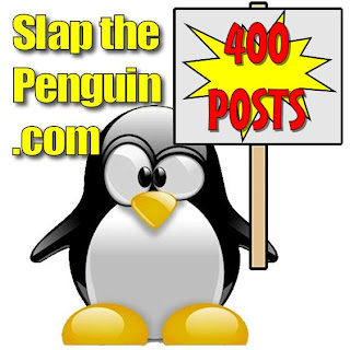 A penguin holding a poster saying 400 posts