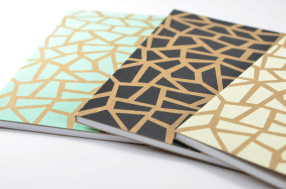 mint and metallic notebook
