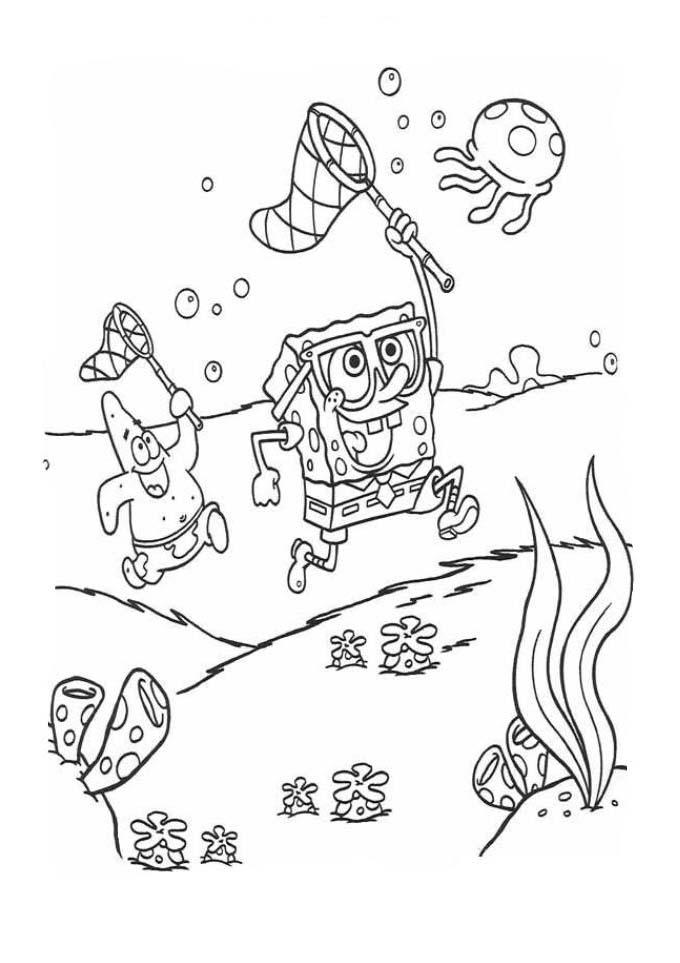 Desenhos Preto e Branco Bob Esponja Caçando Agua Viva Colorir