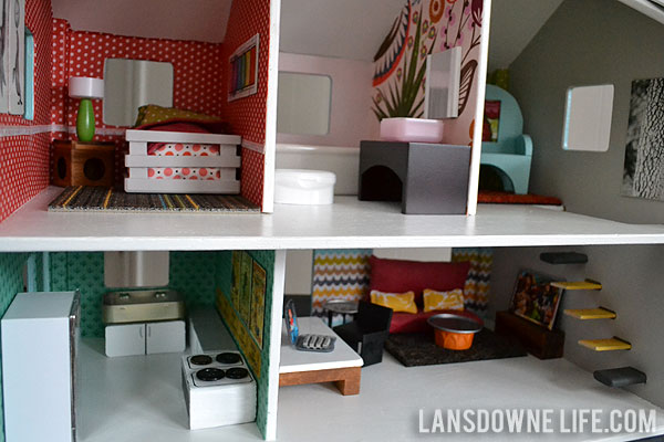 Modern DIY dollhouse makeover with handmade furniture made from recycled items
