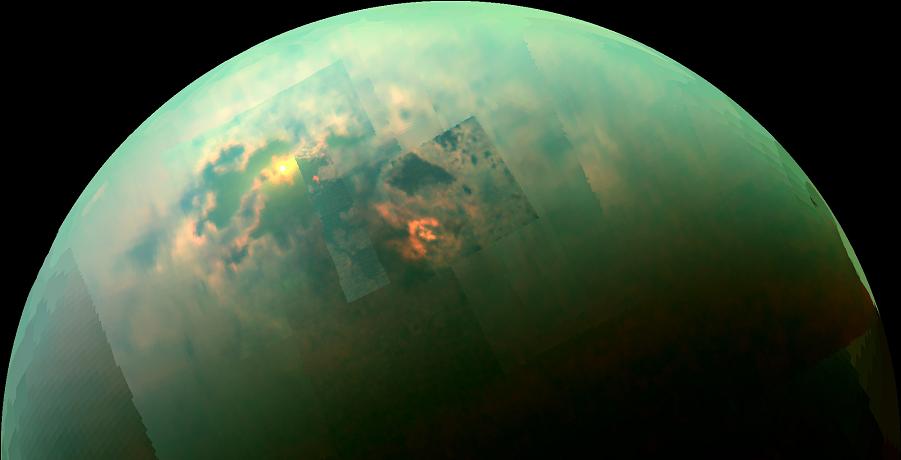 This near-infrared, color view from Cassini shows the sun glinting off of Titan's north polar seas. Image Credit: NASA/JPL-Caltech/Univ. Arizona/Univ. Idaho