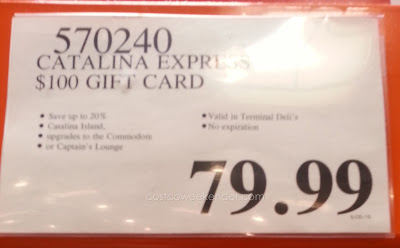 Catalina Express $100 gift card for $80