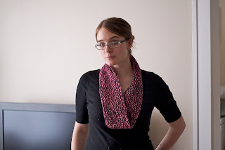 Honeysuckle Pink and Grey Cowl/Neck Warmer