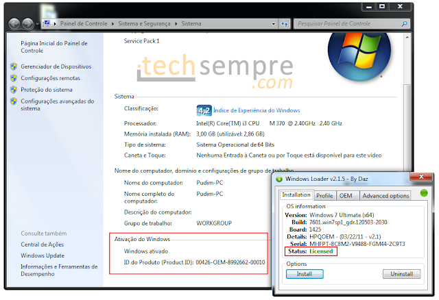 [TechSempre] Tutorial - Como ativar o Windows 7 e remover mensagens de pirataria - Todas as Verses! (Home Basic e Premium, Ultimate, Professional, Starter, Entreprise - 32bits e 64bits!)