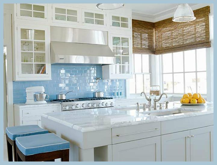 Coastal aqua and white kitchen