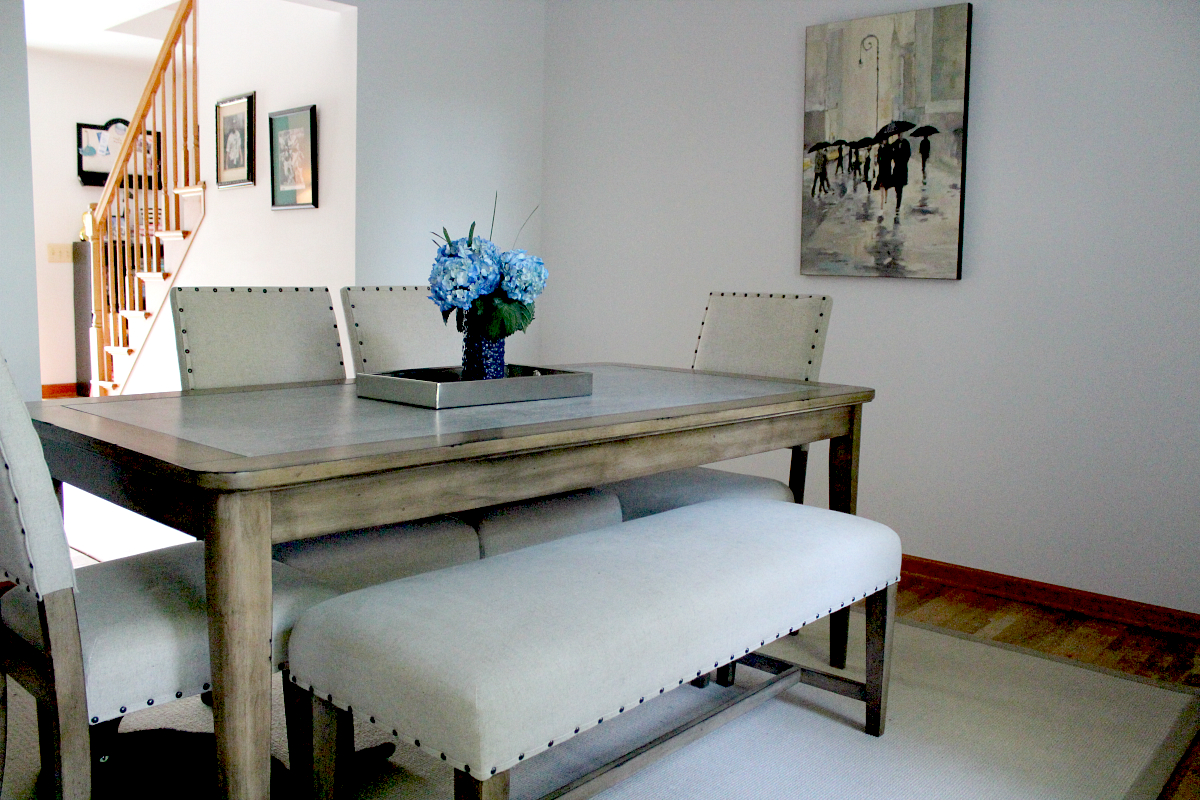 09 gray kitchen table Dining Room Makeover with Raymour Flanigan