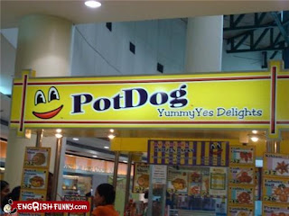 pot dog yummy delights funny sign, eating dog meat