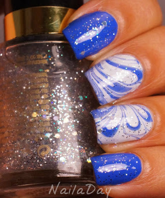NailaDay: SH Pacific Blue and White On watermarble with Revlon Stunning