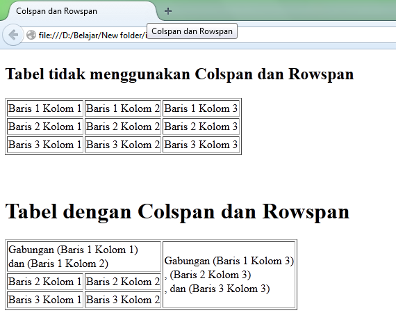 Tampilan Tabel Pada webbrowser