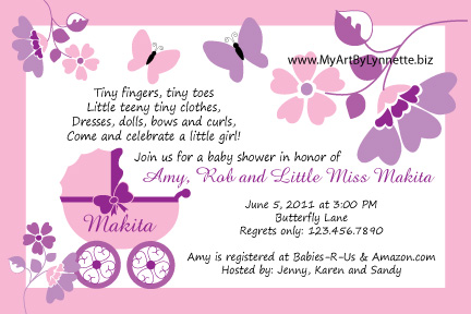 LynnetteArt Butterfly Buggy Baby Shower invitation – Butterfly Invitations Birthday