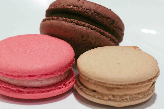 Dark chocolate, strawberry, salted caramel macarons