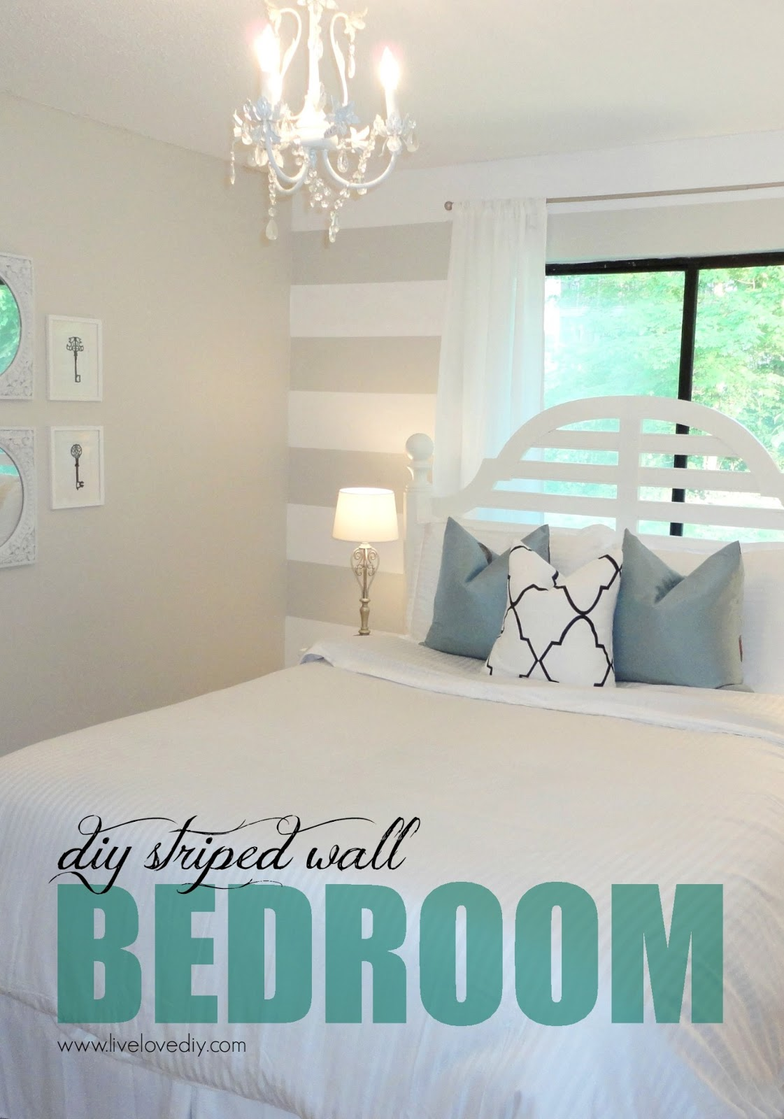 Livelovediy diy striped wall guest bedroom makeover for Bedroom ideas diy