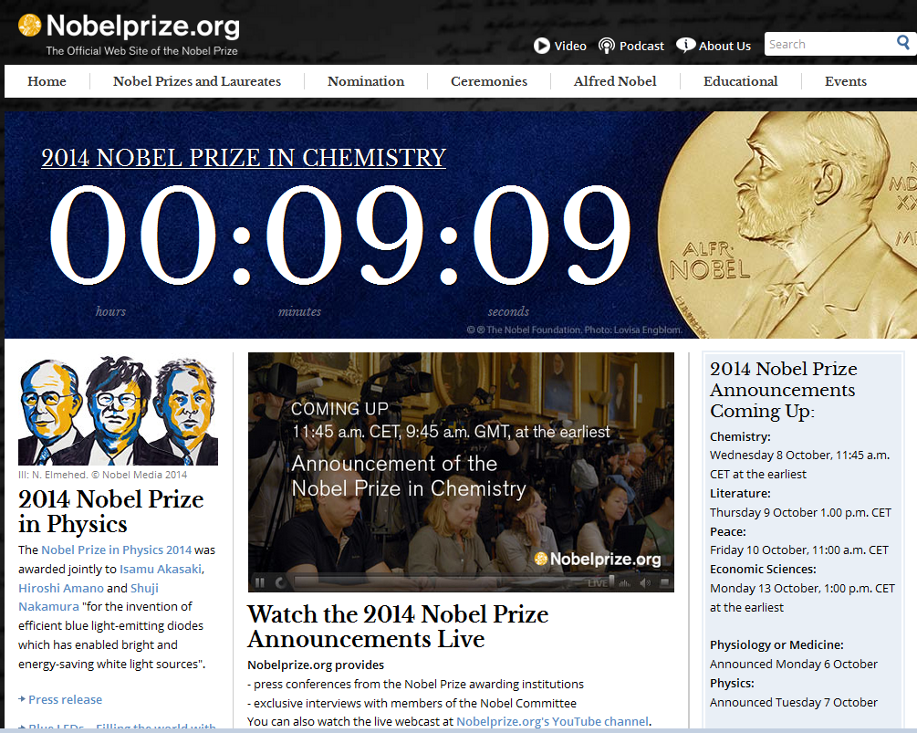 httpwwwnobelprizeorg site as the countdown begins for the announcement