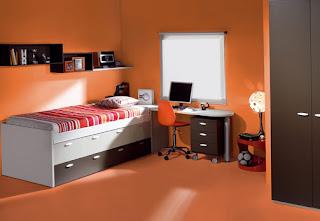 Habitación naranja adolescente