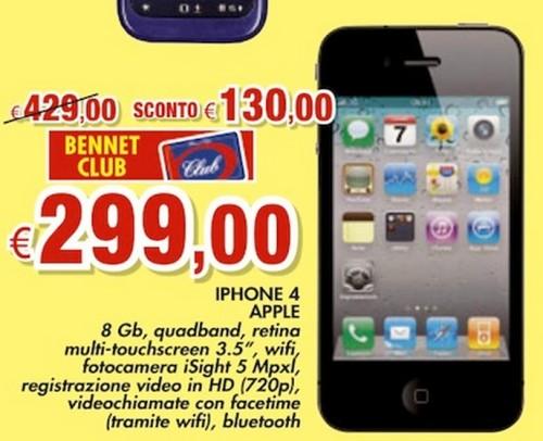 Bennet CLub sconta 130 euro l'iPhone 4 e lo vende a 299 euro; prezzo già visto molte volte
