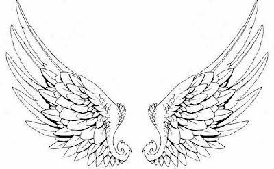 Angel white wings tattoo stencil