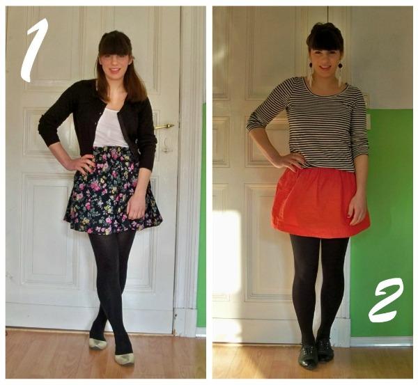 30 Kleidungsstücke für 30 Tage ergeben 30 verschiedene Outfits Tag 1 und 2