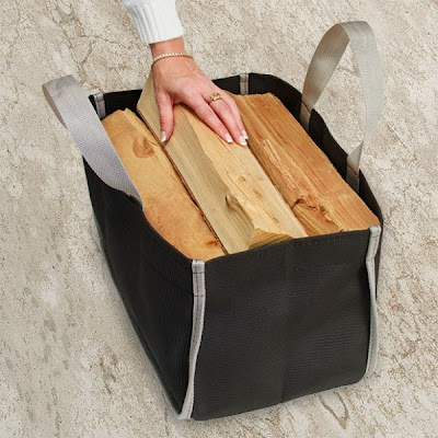 canvas bag for toting and storing firewood logs