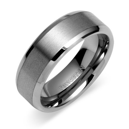 Beveled Edge Men's Tungsten Wedding Band