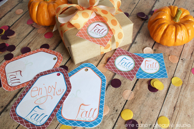 wrapped present, pumpkins, fall gift tags, confetti, fall is in the air