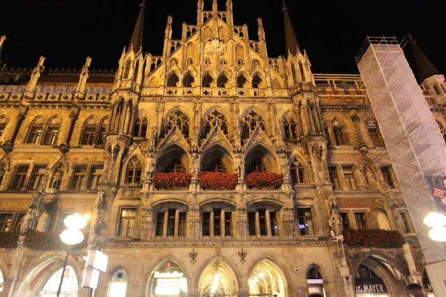 The side view of the New Town Hall at St Mary Square, Marienplatz in Munich, Germany