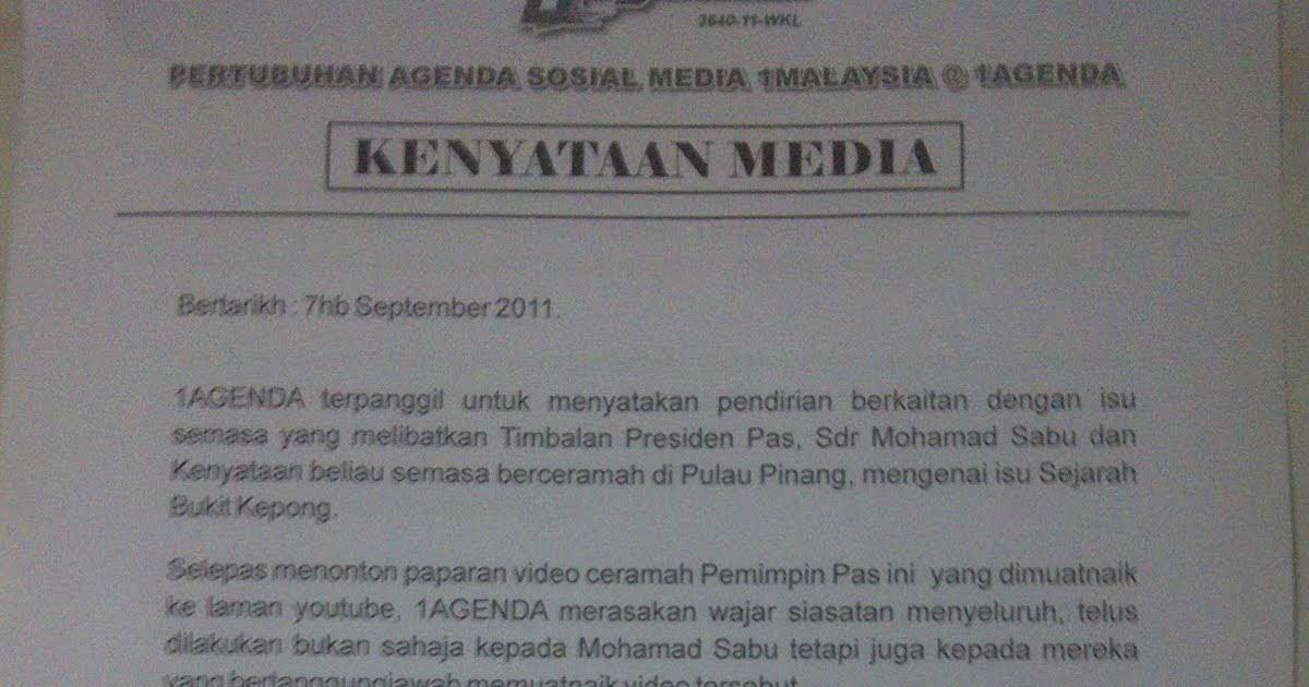 Taipingmali : Fw: KENYATAAN MEDIA: 1AGENDA SELAR ...
