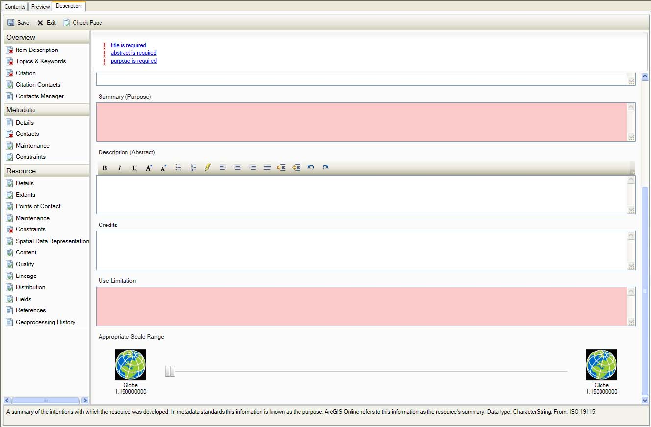 The arcgis 101 beta metadata battle part 6 geospatial metadata initial error messages on overview item description part 2 xflitez Gallery