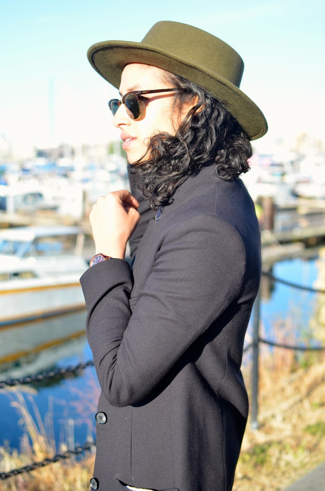 Goorin Bros fedora, Goorin Bros High Stakes fedora, Grenadier fedora, Victoria,BC, black car coat, Fisherman's wharf style, street style in Victoria, what to wear in Victoria, BC