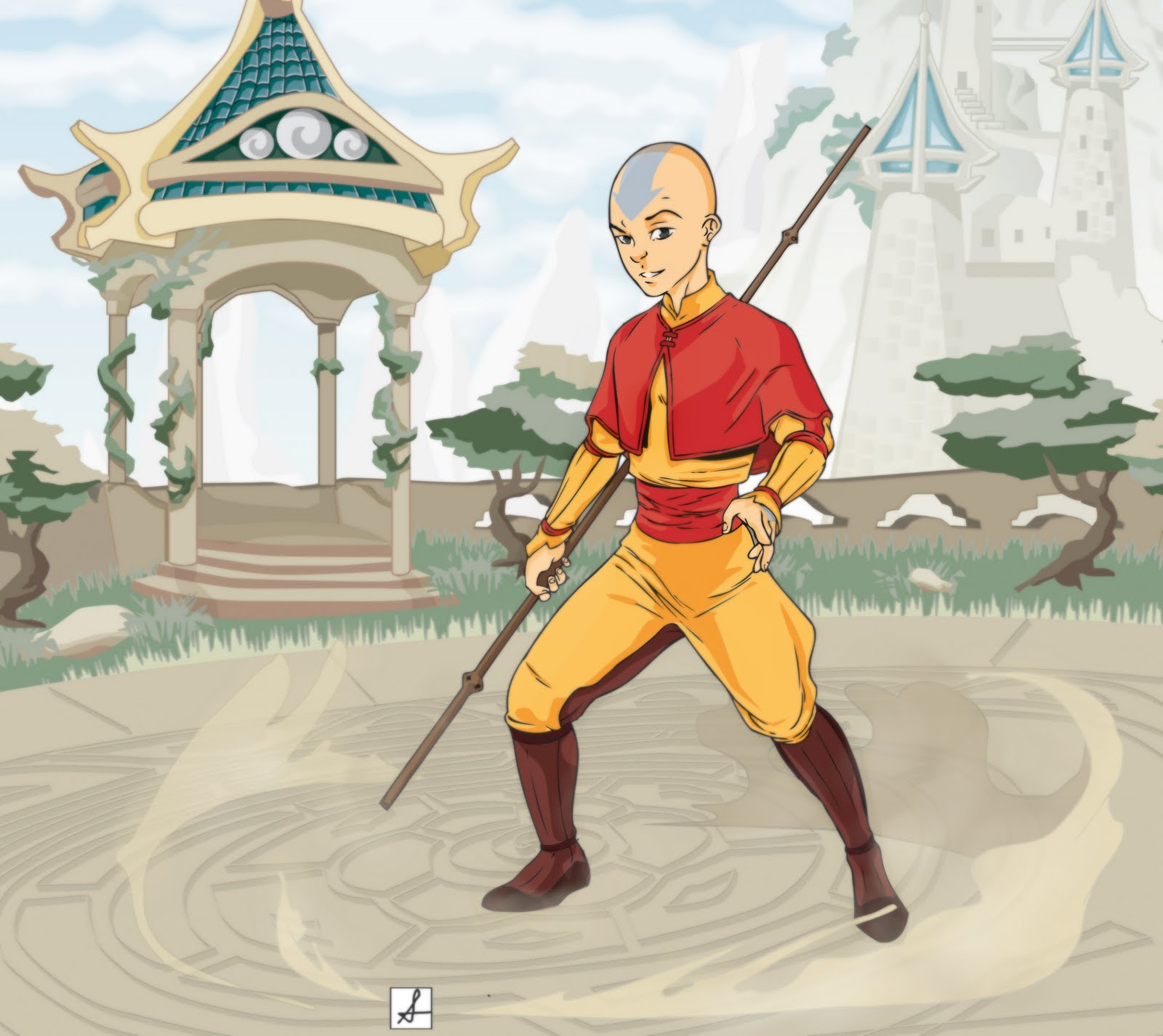 Aang avatar aang and katara aang airbending aang wallpaper aang