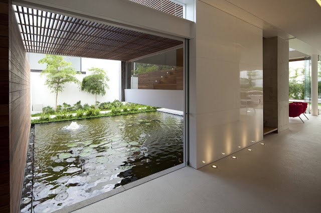 Pond by the hallway in the FF House in Mexico