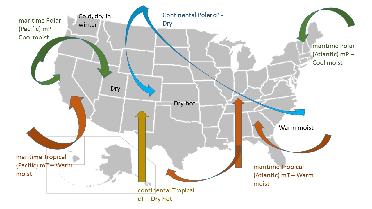 Hows The Weather Today ExercisesLabs - Air masses map of us hot dry cool moist