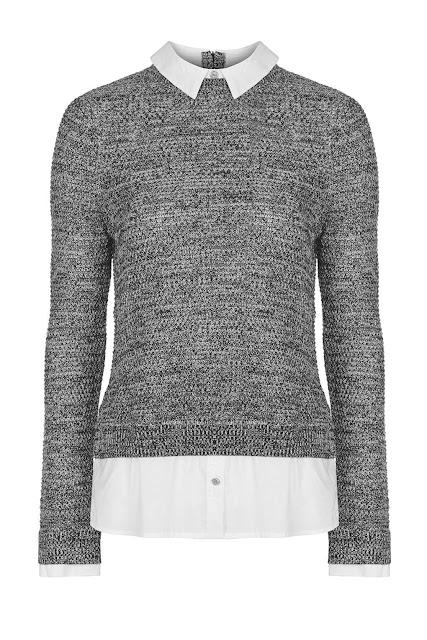 grey jumper with white collar, white collar grey jumper, hybrid jumper grey,