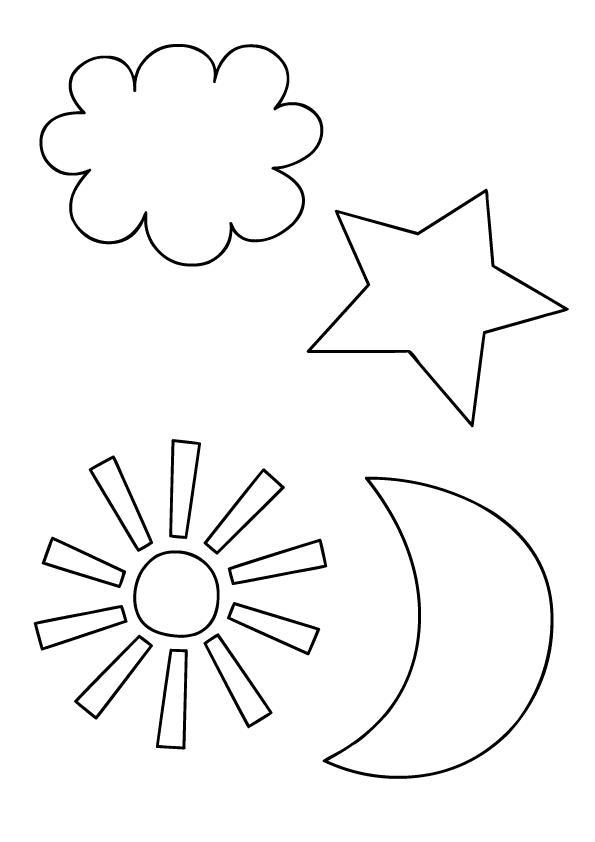 nube, estrella, luna, sol