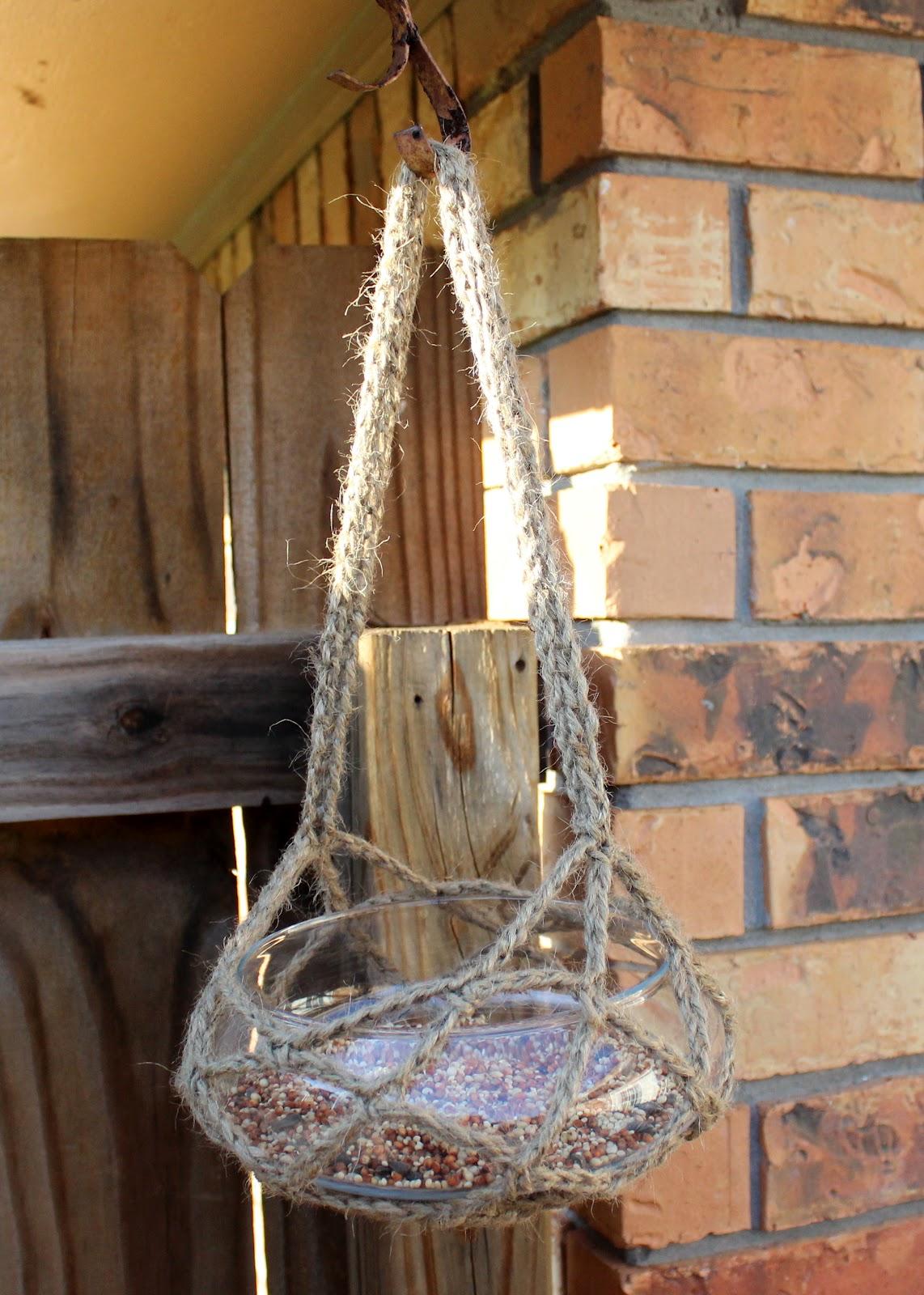 diy crocheted glass bird feeder