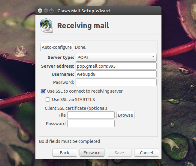 Claws Mail auto configuration